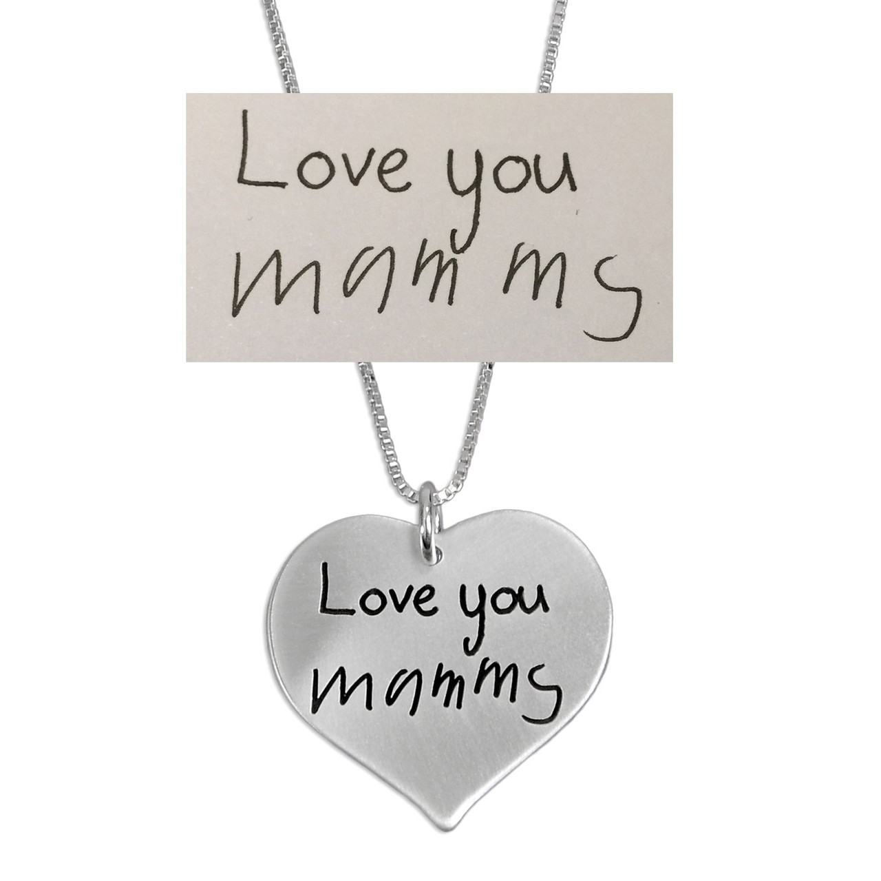 Custom Silver Heart Handwriting Necklace with your actual handwriting, shown on white, with original handwriting