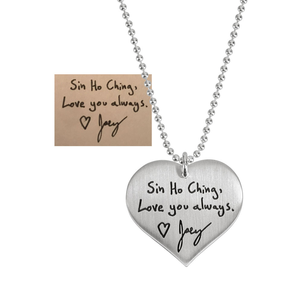 Custom Silver Heart Handwriting Necklace with your actual handwriting, shown with handwritten note used to create it