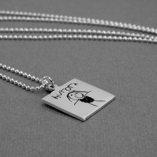 Silver Square Handwriting Artwork Necklace, shown from the side