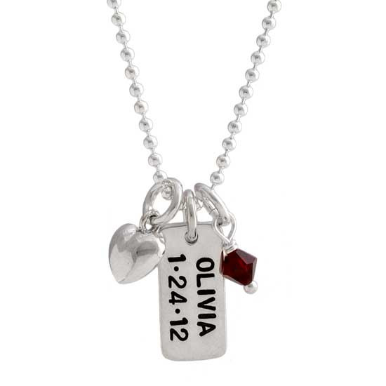 Hand stamped silver Dainty Rectangle stamped with child's name and birthday, hung with birthstone on silver chain