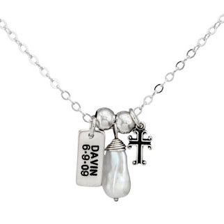 Hand stamped silver Dainty Rectangle mommy necklace, stamped with child's name and birthday, hung with freshwater pearl & cross, on silver chain