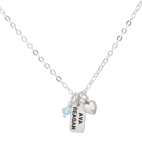 Hand stamped silver Dainty Rectangle mom necklace, stamped with child's name, hung with birthstone and puffed silver heart on silver chain