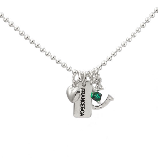 sterling silver Personalized necklace for mom, with birthstone & stamped kid's name, with puffed silver heart, green birthstone and horseshoe charm