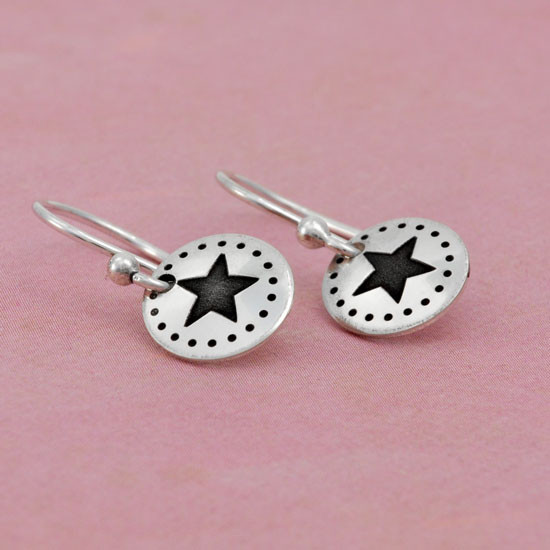 Dotted Star hand stamped Earrings shown in a side view