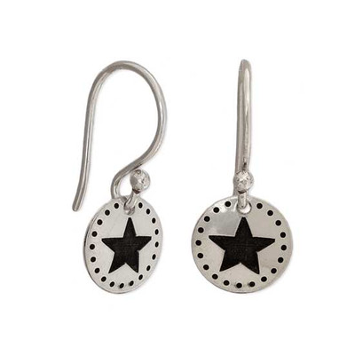 Dotted Star hand stamped Earrings on white background
