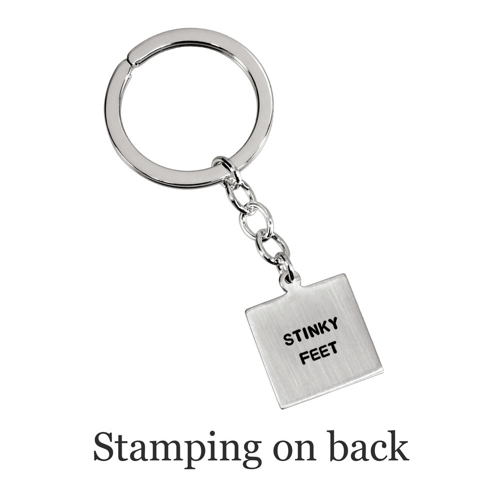 Custom sterling silver key chain with Etched Baby Prints, shown with optional stamping on back