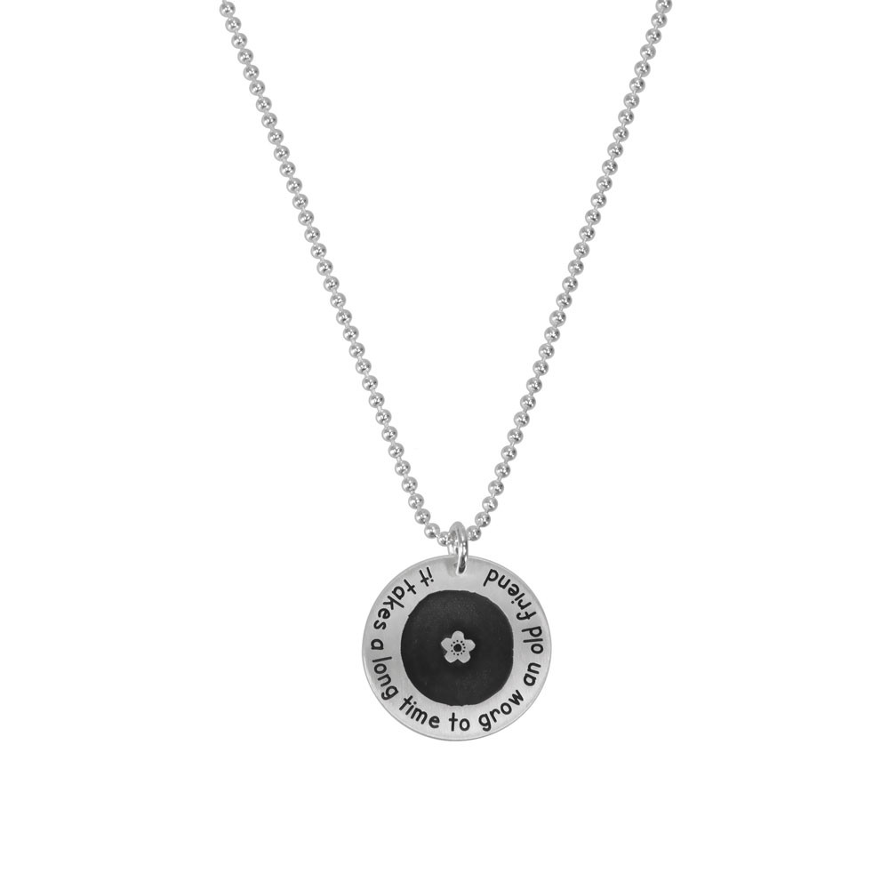 Silver Etched Flower Forever Love Circle Necklace personalized with your names or words, shown on white