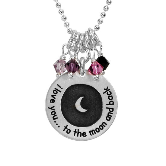 Etched moon and back necklace with birthstones