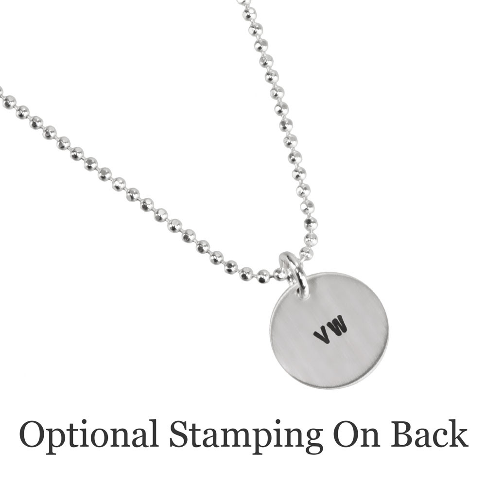 Custom Silver Etched Paw Disc Necklace, with dog's name, shown stamped on back