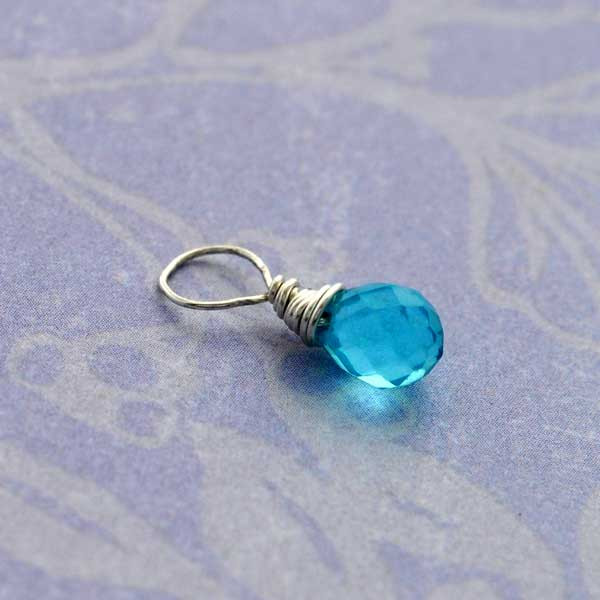 Faceted Aquamarine Glass Briolette (March)