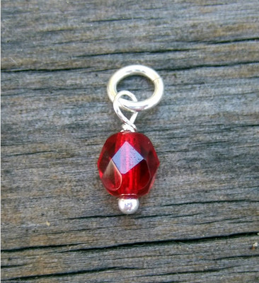 Faceted Ruby Bead (July)