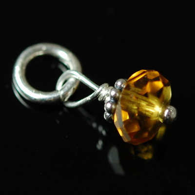 Faceted Topaz Stone with Bali Bead (Nov)