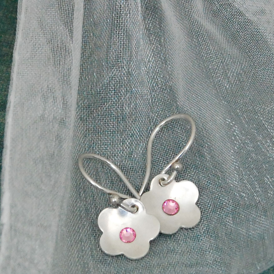 Flower Birthstone Earrings -  SALE