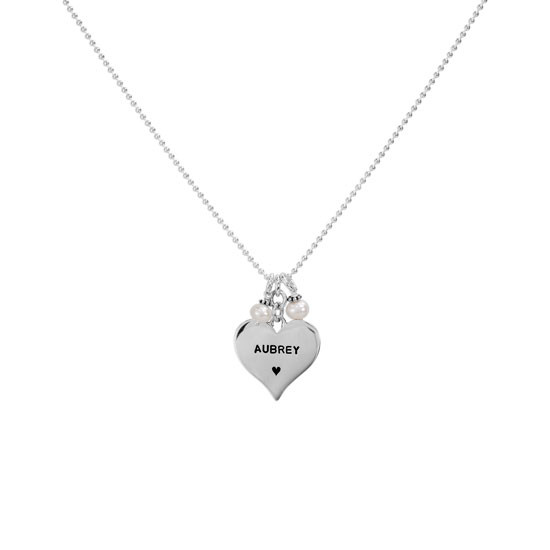 Sterling silver heart stamped with a name on a silver chain with two pearls