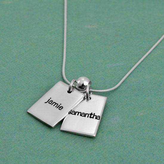 Personalized Funky Rectangle silver Necklace, hand stamped with kids' names, shown from the side