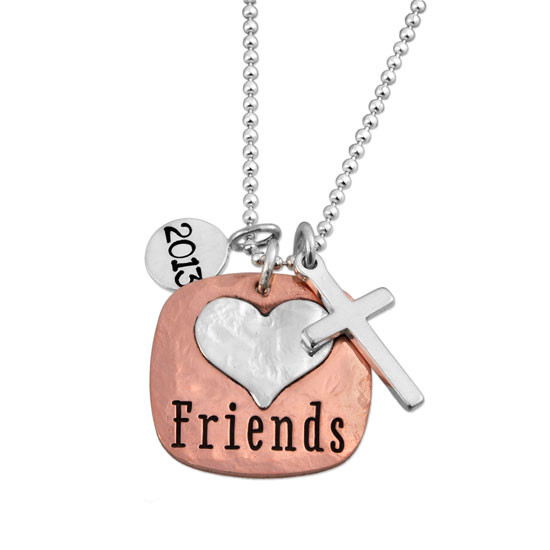 Hand stamped Fused Heart and Copper Necklace with silver heart, shown close up on white, with silver cross & year charm