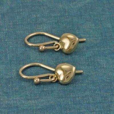 Gold Puffed Heart Earrings