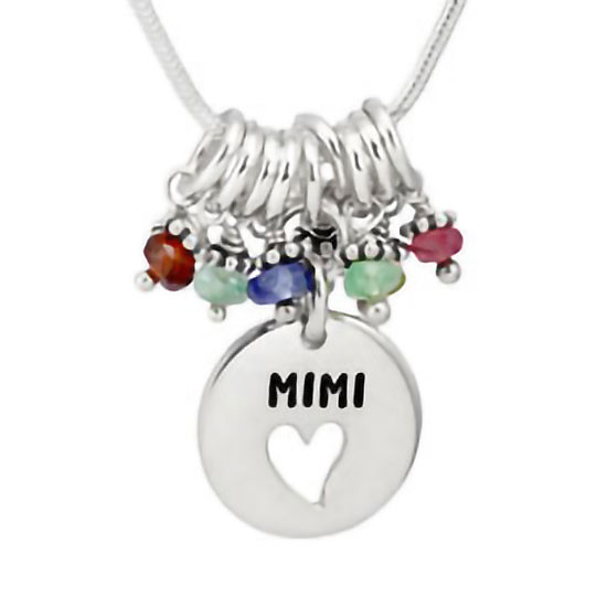 Silver Grandma Heart Disc Necklace with birthstones, shown on white close up