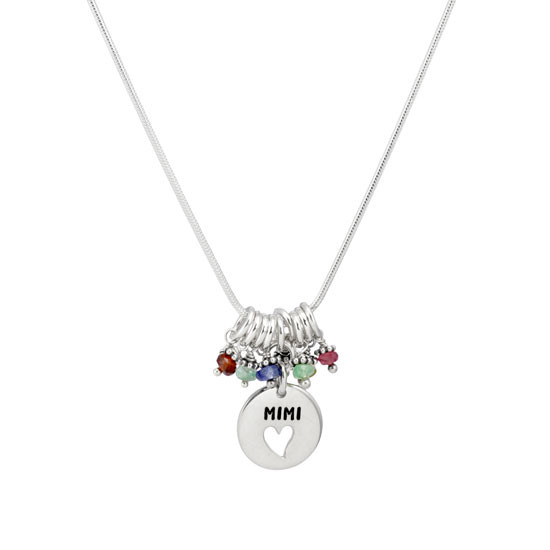 Silver Grandma Heart Disc Necklace with birthstones, shown on white