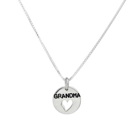 Silver Grandma Heart Disc Necklace, shown without birthstones, on white