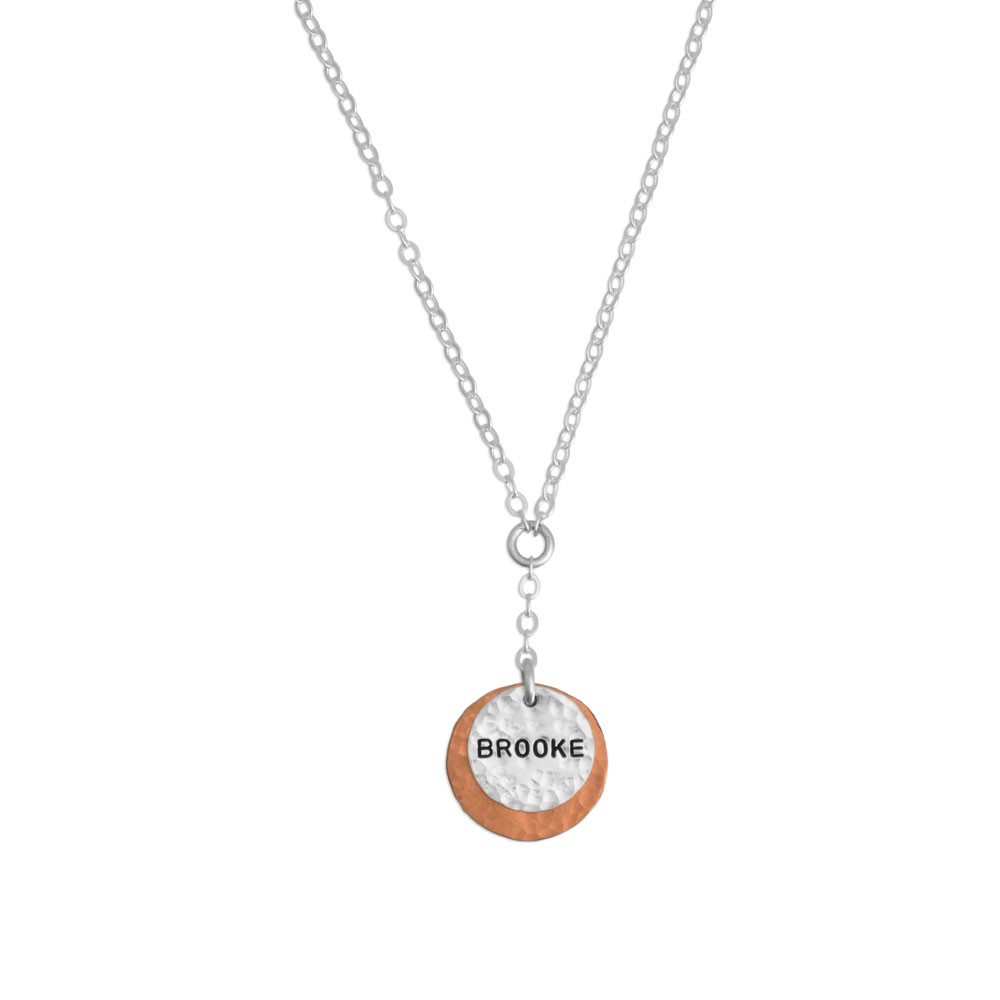 Hand stamped hammered copper and silver necklace, stamped with the name Brooke