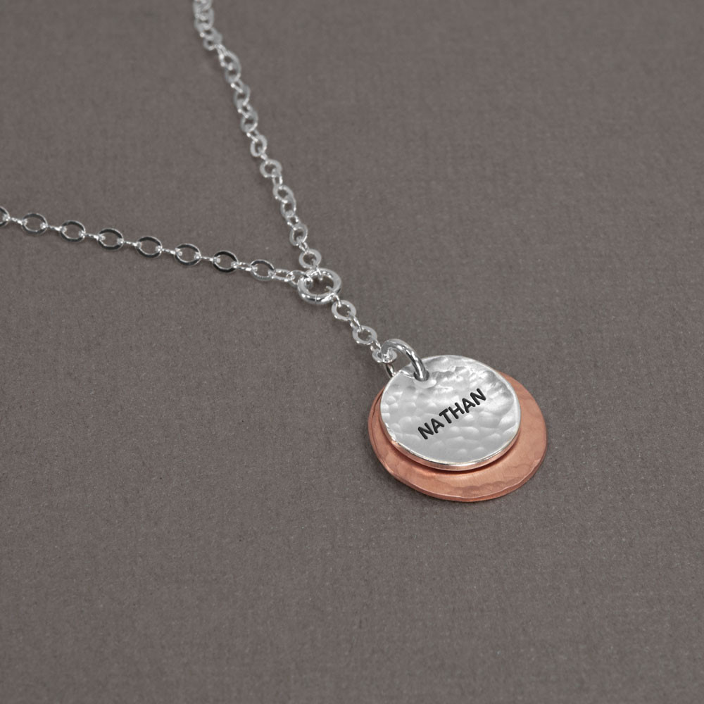 Hammered Copper & Silver Necklace with hand stamped name, shown from the side