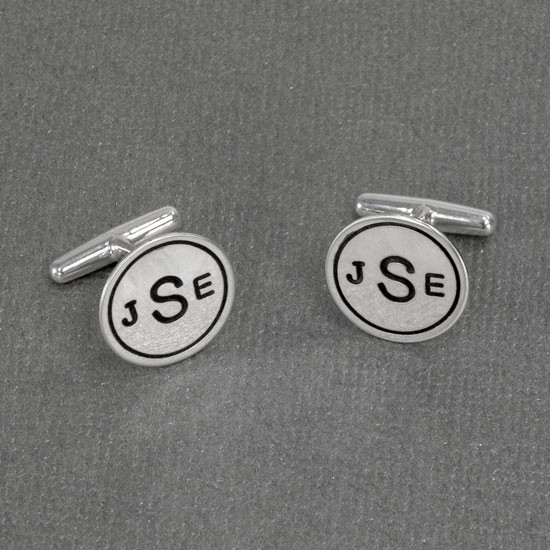 Monogram custom cuff links sterling silver