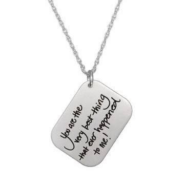 Love Letter Handwriting Silver Necklace on Dainty Cable Chain