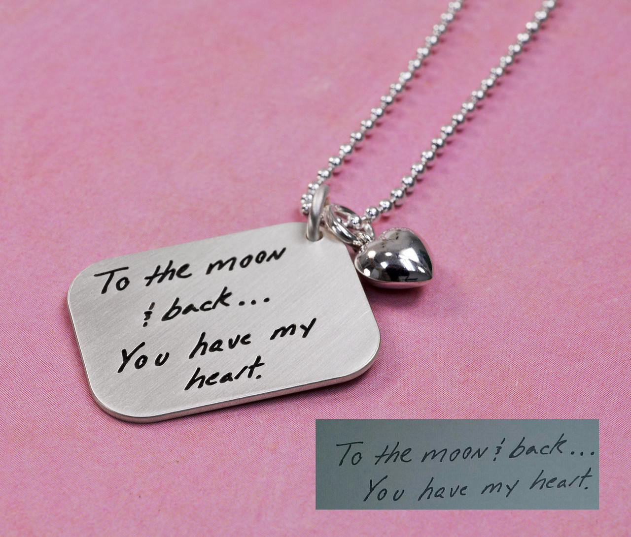 Love Letter Handwriting Silver Necklace with the handwriting used to create it
