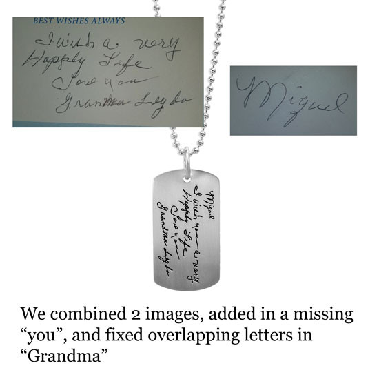 Handwriting fixed for necklace