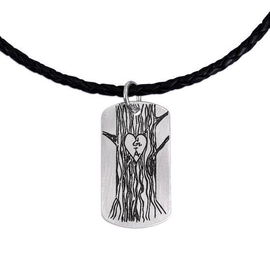 Your handwritten drawing on silver military tag, shown on thick leather cord