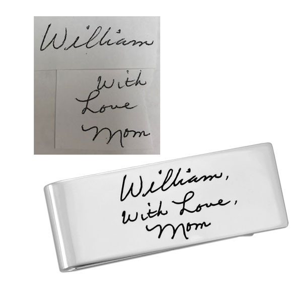 Sterling silver handwriting money clip, shown with original handwriting