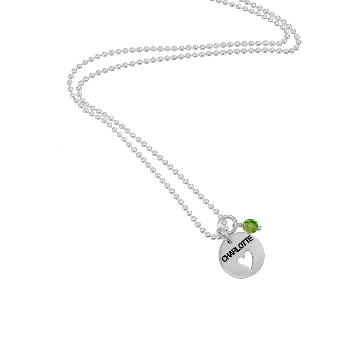 Heart Cut-Out Silver Disc Necklace, shown with birthstone
