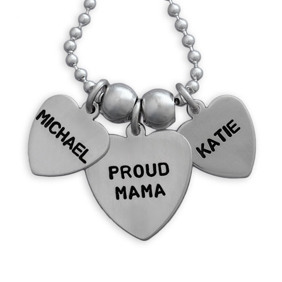 Mom necklace with names on heart