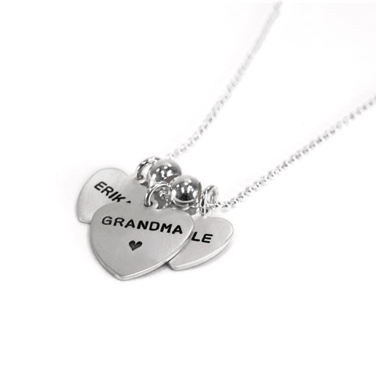 Grandma necklace with names on hearts