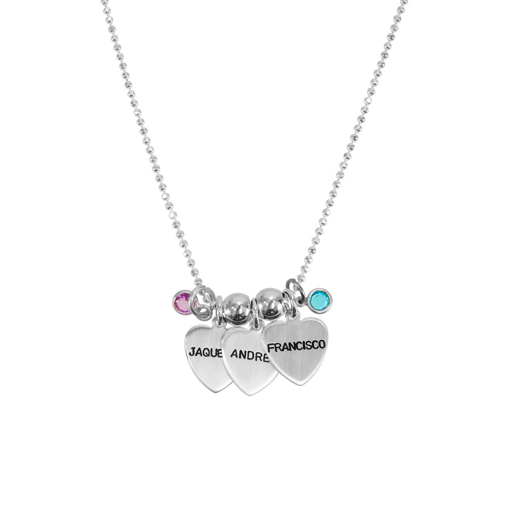 Grandma silver heart custom necklace hand stamped with kids names, shown on white with birthstones