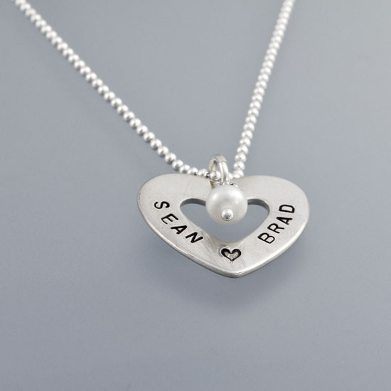 Hand Stamped Heart of Love Necklace, shown from side