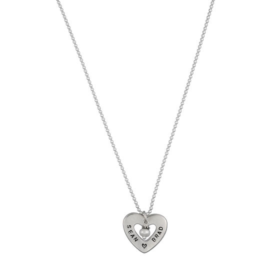 Hand Stamped Heart of Love Necklace, on white background