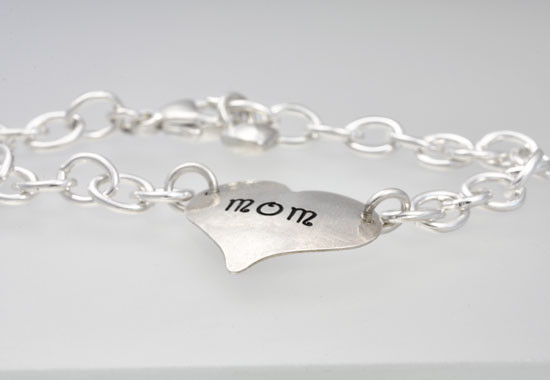Hand Stamped Mommy Bracelet, shown from the side