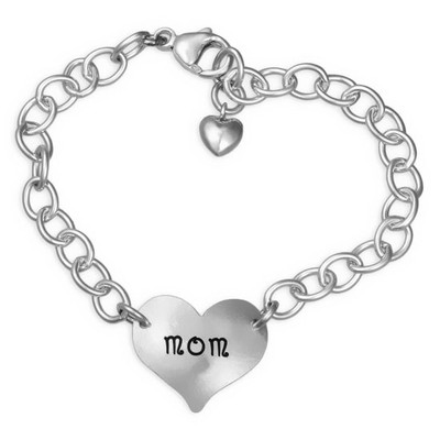Hand Stamped Heart On Your Wrist Silver Signature Bracelet, shown on white