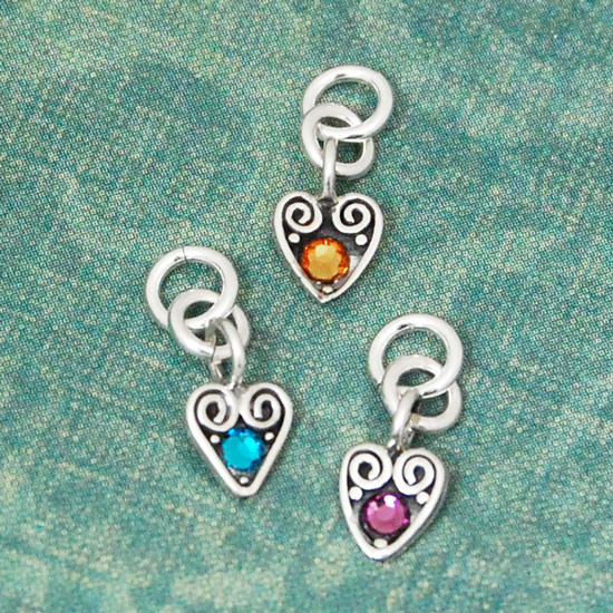Heart Charm with Birthstone