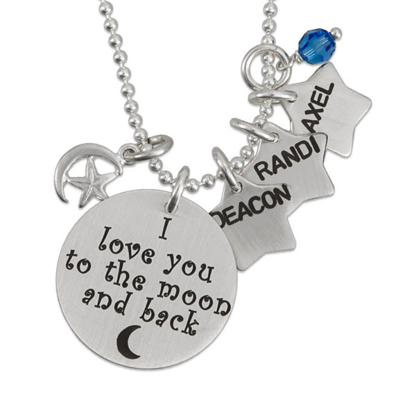 I Love You To The Moon with Star Charm silver necklace, close up on white