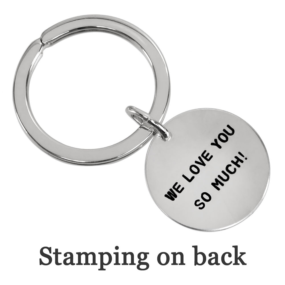 Custom hand stamped silver key chain with stamped note on the back