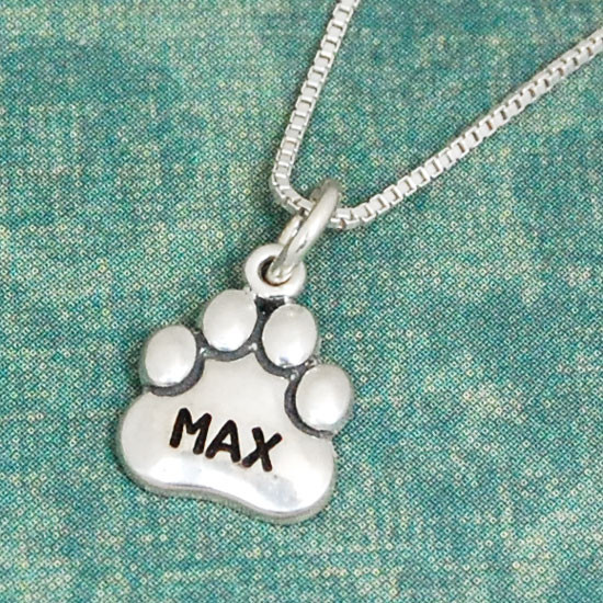 Large Sterling Paw Charm with Name (or blank)