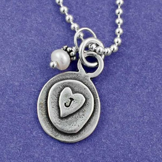 Layered Heart Charm Necklace & Pearl