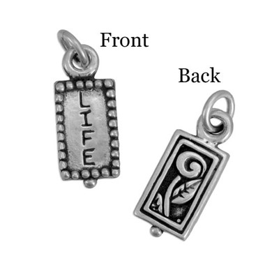 Sterling silver charm stamped with word life and image of flower