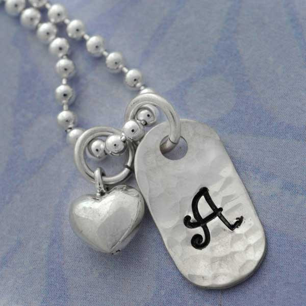 Mini Initial Tag and Heart Necklace