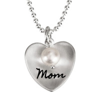Silver Mom Heart with Pearl hand stamped custom necklace, shown close up