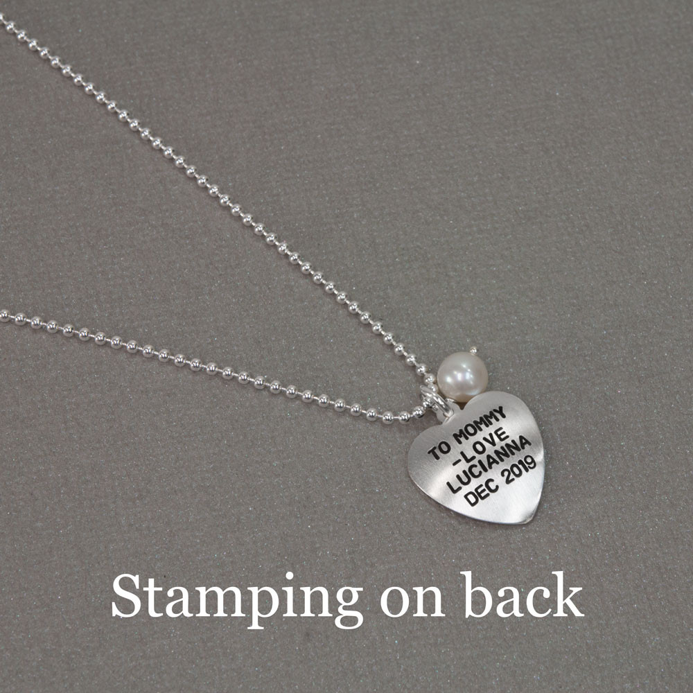 Silver Mom Heart with Pearl hand stamped custom necklace, shown with stamping on the back