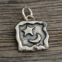 Moon and Star in a Square Silver Charm